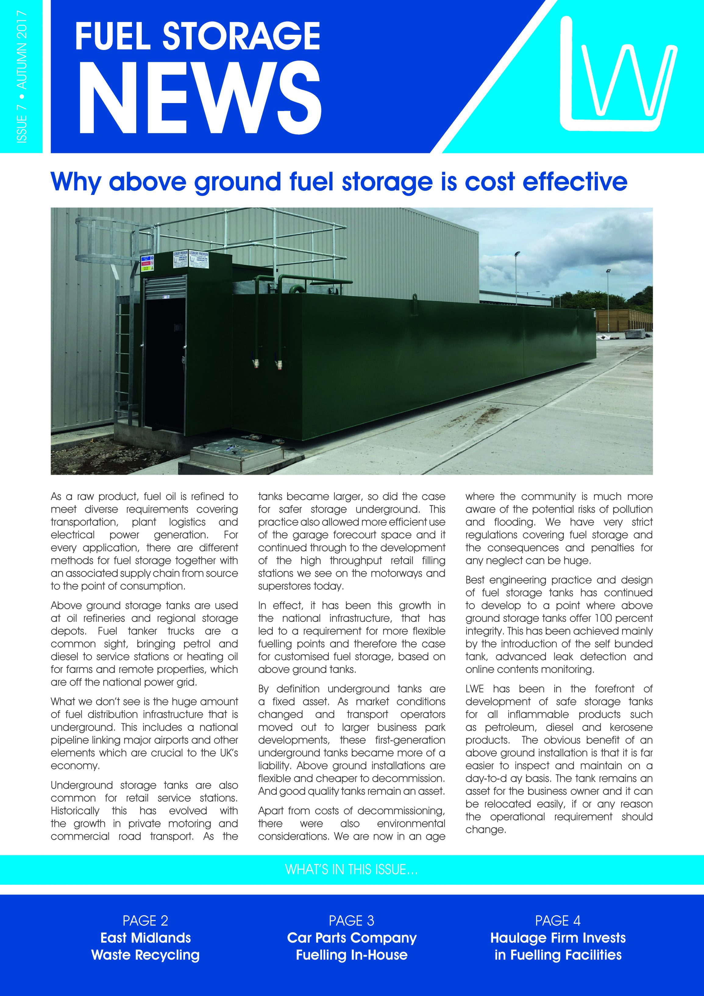 Ledbury Welding Fuel Storage news - Autumn 2017